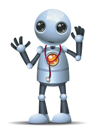 illustration of a happy droid little robot doctor on isolated white background