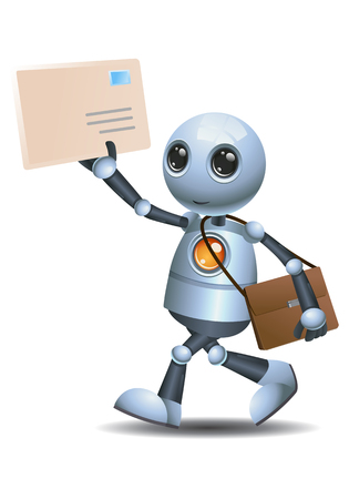illustration of a happy droid little robot delivering envelope mail on isolated white background Stock Photo