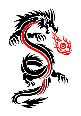 illustration of a furious flying fiery dragon tattoo isolated on white background