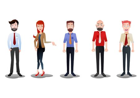 variety male and female business people illustration on isolated white background