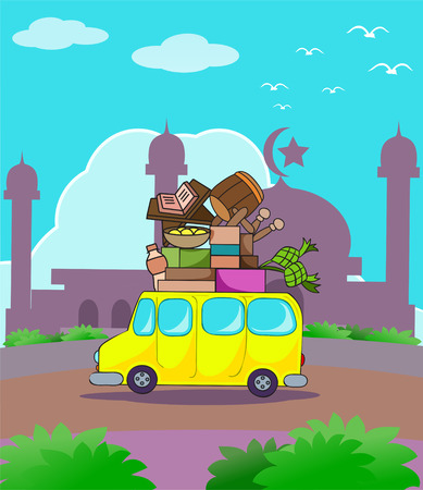 car full luggage on ramadan kareem travel  theme illustration Imagens