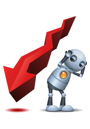 illustration of a little robot afraid of descending arrow chart on isolated white background