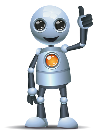 illustration of a happy droid little robot thumb up on isolated white background Reklamní fotografie
