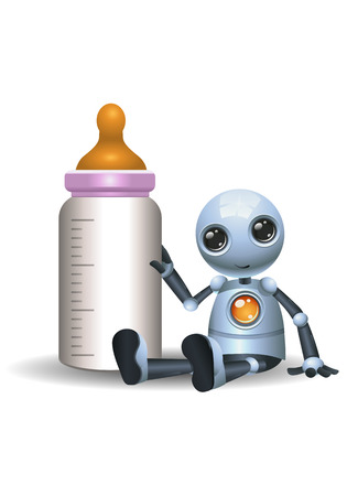 illustration of a happy droid little robot hold baby bottle on isolated white background Foto de archivo