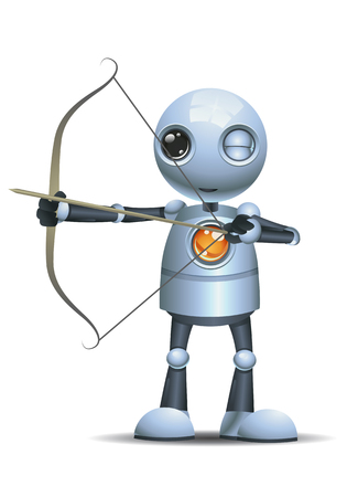 illustration of a happy droid little robot hold archer bow on isolated white background