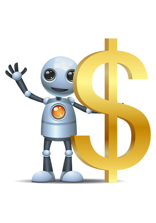 illustration of a happy droid little robot hold dollar symbol on isolated white background