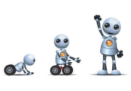 illustration of a happy droid little robot evolution phase on isolated white background