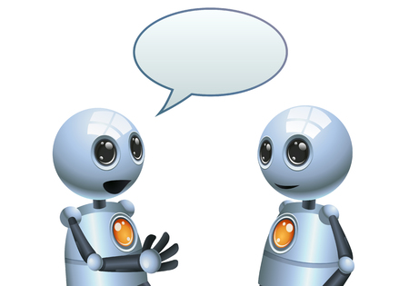 illustration of a happy droid little robot  conversation on isolated white background