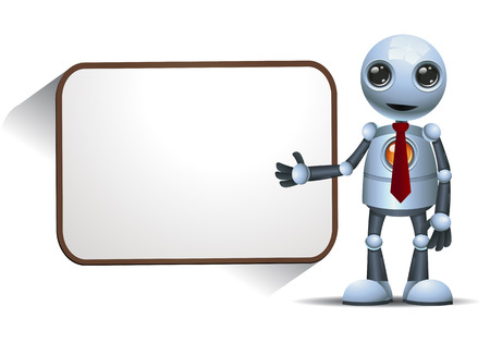 illustration of a happy little robot presenting blank board on isolated white background