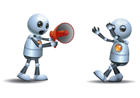 illustration of a little robot scolding using megaphone on isolated white background Stock Photo