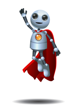 illustration of a super little robot flying on isolated white background