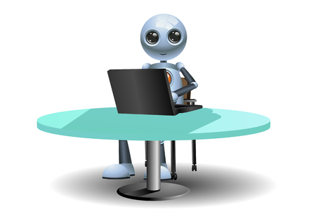 illustration of a little robots work using computer on isolated white background Reklamní fotografie