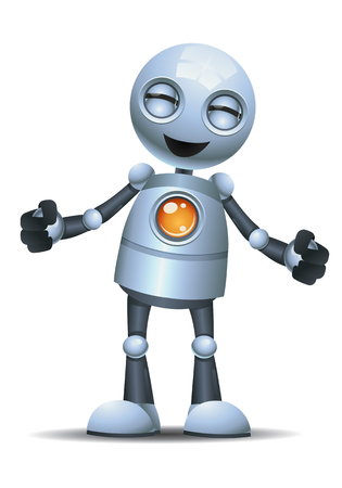 illustration of a happy little robot emotion in happy isolated white background Reklamní fotografie