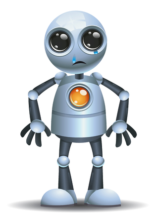 illustration of a little robot emotion in crybaby on isolated white background