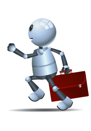 illustration of a happy little robot going to school running on isolated white background