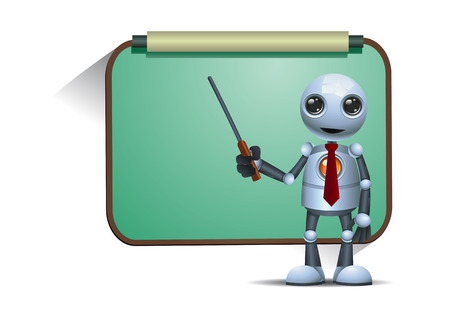 illustration of a happy little robot teacher or professor teaching on isolated white background