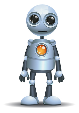Illustration of a little robot emotion in shock on isolated white background