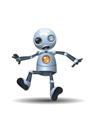 Illustration of a little robot emotion in overwhelm face on isolated white background
