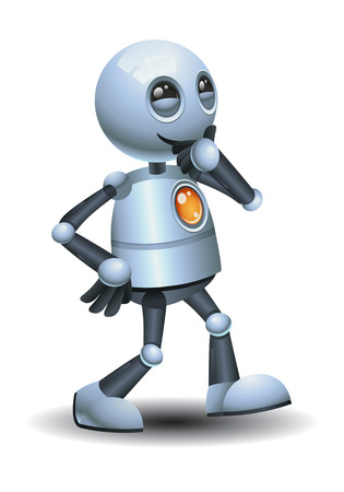 Illustration of a happy little robot walking while thinking on isolated white background Banco de Imagens