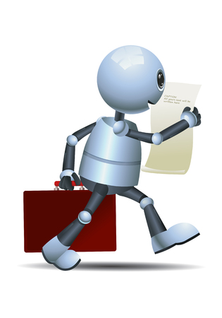 Illustration of a happy little robot walking while reading it report on isolated white background