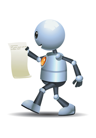 Illustration of a happy little robot studying while walking on isolated white background
