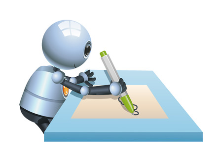 Illustration of a happy little robot drawing on paper on isolated white background Stock Photo