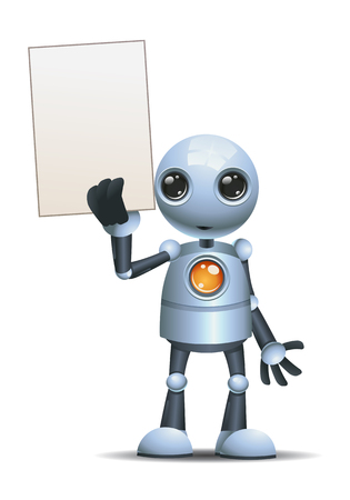 Happy little robot businessman hold blank paper on isolated white Reklamní fotografie