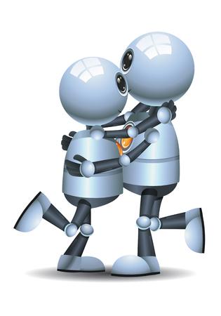 Happy little robot couple dance on isolated white Stock Photo