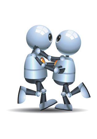 illustration of a happy little robot  couple slow dance on isolated white background Stock Photo