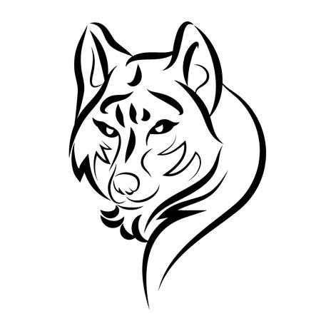 illustration of dog guarding tattoo over isolated white background