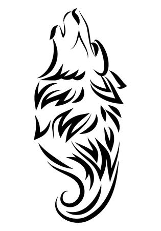 illustration of dog howling tattoo over isolated white background