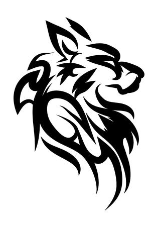 illustration of dog solem tattoo over isolated white background