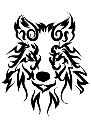 illustration of dog stare tattoo over isolated white background