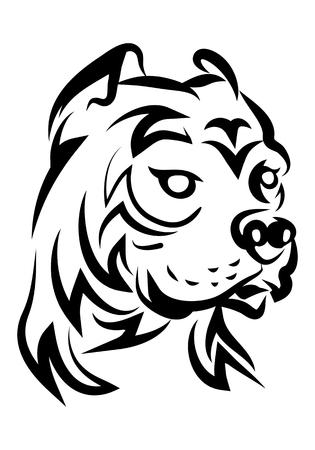 illustration of hideous pitbull dog tattoo over isolated white background Stock Photo