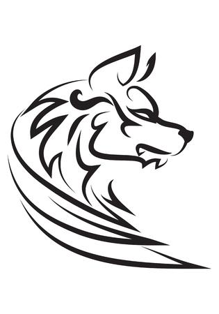 illustration of wise dog tattoo over isolated white background