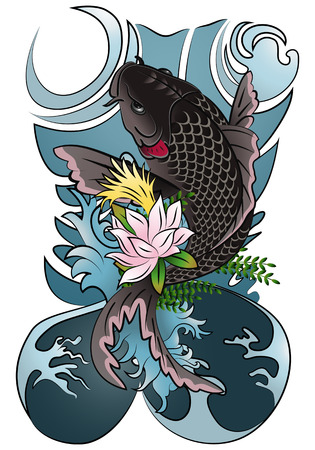 illustration of a japan koi fish black type traditonal ornament tattoo isolated on white background
