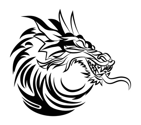 close up illustration of a dragon head traditonal ornament tattoo isolated on white background Stockfoto