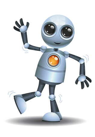 illustration of a little robot doing excited dancing on isolated white background
