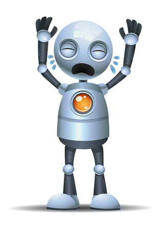 illustration of a little robot crying out loud on isolated white background Stock Photo
