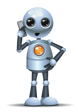 illustration of a little robot businessman talking on phone on isolated white background