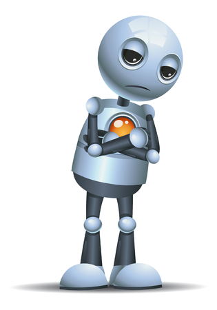 illustration of a little robot  sulking in a bad mood on isolated white background