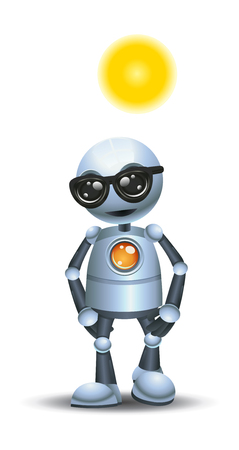 illustration of a little robot walking while sun bathing on isolated white background