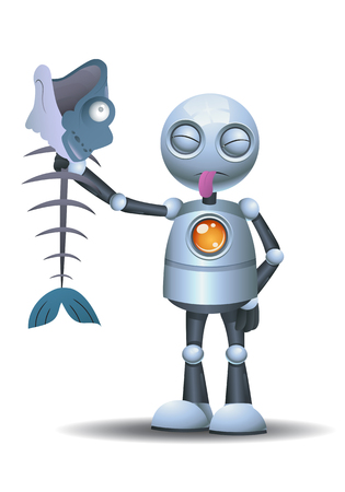 illustration of a llittle robot sticking it tounge out while holding rotten food on isolated white background