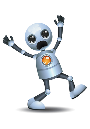 illustration of a little robot screaming out loud on isolated white background