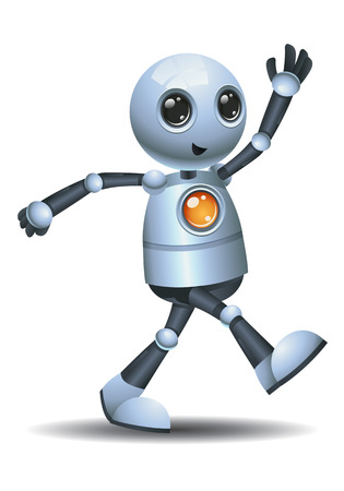 illustration of a little robot leaving from the room on isolated white background