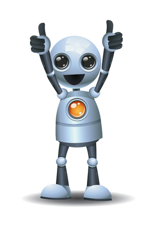 illustration of a little robot giving double thumb up on isolated white background Reklamní fotografie