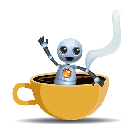 illustration of a little robot playing on cup of coffee on isolated white background