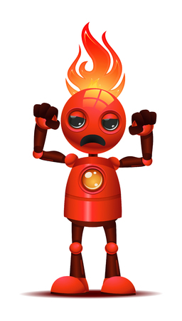 illustration of a little robot body builder very angry on furious mode on isolated white background 写真素材