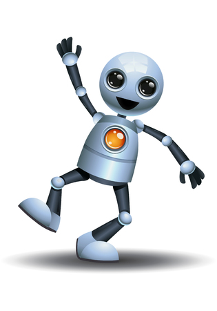 illustration of a little robot doing step jumping on happiness on isolated white background