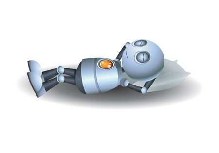 3D illustration of a little robot sleeping on pillow on isolated white background